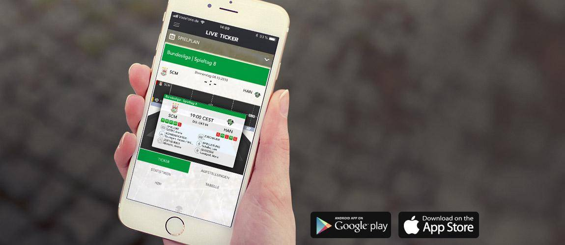Smartphone mit SC Magdeburg App