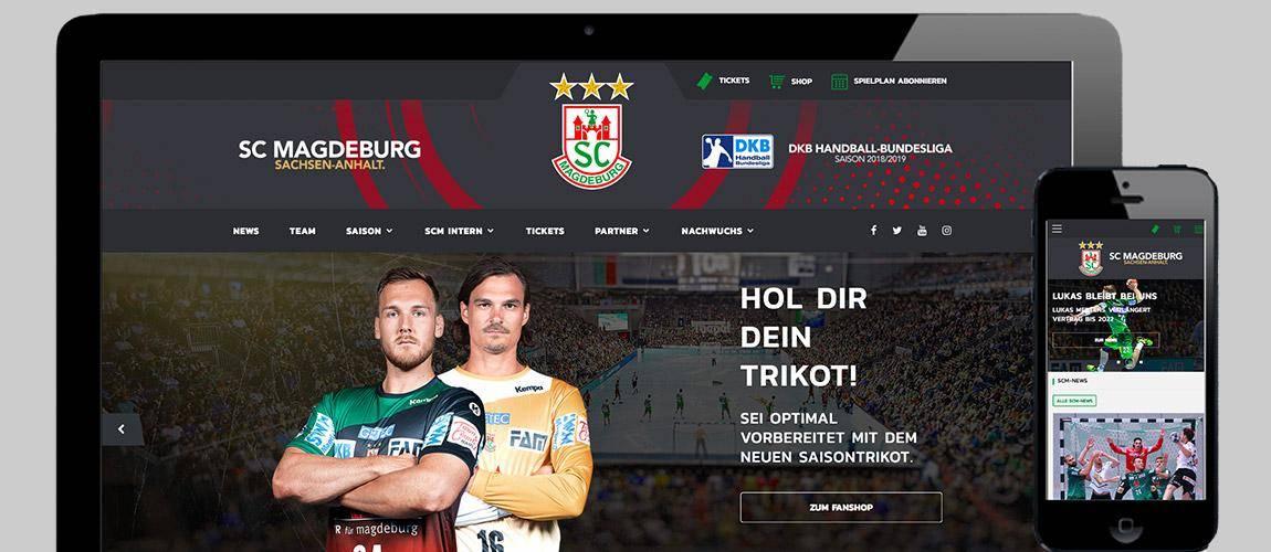 Desktop mit Darstellung vom Relaunch der SC Magdeburg Handball Webseite