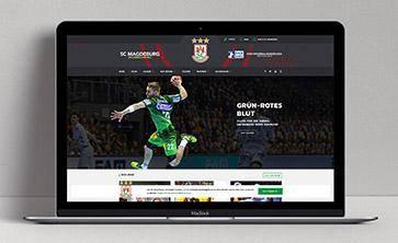 Desktop mit Darstellung vom Relaunch der SC Magdeburg Handball Webseite als Vorschauansicht